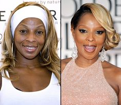 Mary J. Blige  On left: promoting Carol's Daughter products in Miami on Aug. 24, 2006  On right: dazzling at the 69th Annual Golden Globe Awards in Beverly Hills on Jan. 15, 2012