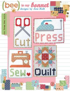 The Cut Press Sew Quilt pattern by Lori Holt of Been in my Bonnet features 4 wall hangings. All of these projects (or even a few) would be fun to hang in a sewing room and would be a great gift for all of your quilting or sewing friends. Quilting Projects, Quilting Designs, Sewing Projects, Quilting Ideas, Small Quilts, Mini Quilts, Mini Quilt Patterns, Sewing Patterns, Bee In My Bonnet