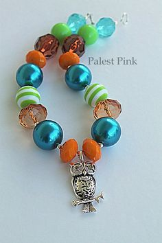 Fall owl little girls chunky Necklace by PalestPink on Etsy, $30.00