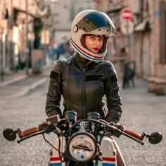 Because life on a motorcycle is a good life. Cafe Racer Style, Cafe Racer Girl, Bike Style, Cafe Racer Helmet, Lady Biker, Biker Girl, Motos Vespa, Vintage Motorcycles, Honda Motorcycles