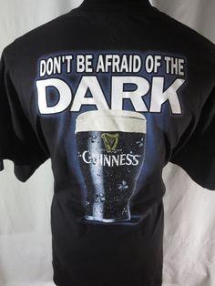 Guinness Official Merchandise Afraid of the Dark 2XL Shirt Black Beer Stout XXL #Guinness #GraphicTee