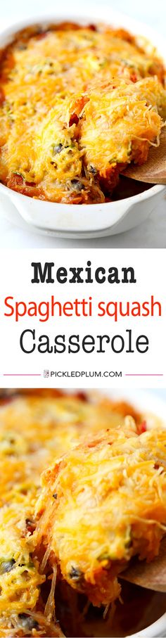 Mexican Spaghetti Squash Casserole With Simple Avocado Salsa - With the colors of autumn and peppy, south-of-the-border flavor, this Mexican Spaghetti Squash Casserole  is healthy dinner perfection! Recipe, baking, vegetables, dinner, casserole, healthy, spaghetti squash   pickledplum.com
