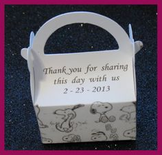 snoopy baby shower personalized favor box -snoopy party favor box. $1.35, via Etsy.