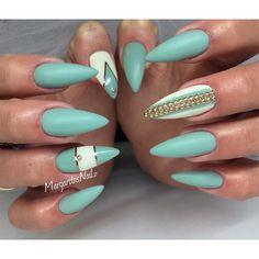Sea green stiletto nails spring/summer 2016 nail art