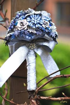 Blue Vintage Brooch Wedding Bouquet