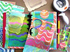 Printing with Gelli Arts®: Gelli® Printing — DIY Stickers…w/video; Nov 2015  #gelliarts #mixedmedia