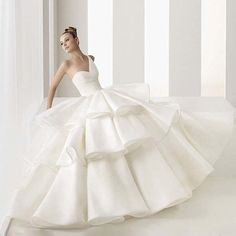 2016 NEW ARRIVAL Gorgeous One-Shoulder A-line/Princess  Floor-length  Tiered Wedding Dresses