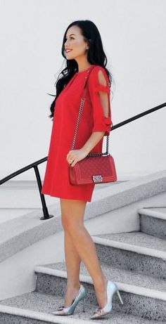 #winter #outfits red 3/4 sleeve cocktail dress