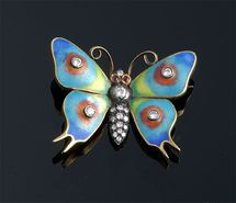 Enamel & Diamond Butterfly Pin