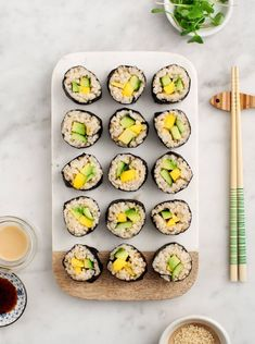 Avocado Mango Brown Rice Sushi #vegan #healthy #weekendcooking #glutenfree