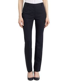 Lucia Fit Pinstripe Pants- navy