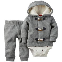 Carter's Baby Boy Christmas Hoodie Set (75 BRL) ❤ liked on Polyvore featuring baby and baby boy
