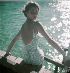 Original caption: Model wearing a baby blue with white embroidered bathing suit by Carolyn Schnurer. Jean Patchett Baby Blue Swimsuit with White Embroidery – Vogue – 1950 – Photo Clifford Coffin Vintage Vogue, Moda Vintage, 1950s Fashion, Vintage Fashion, Icon Fashion, Vintage Style, Fashion Shoot, Retro Style, Daily Fashion