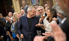 """Dick Wolf, at center in jacket, celebrating the 300th episode of """"Law & Order: SVU"""" at Chelsea Piers.  By AMY CHOZICK ... Read more at: www.nytimes.com"""