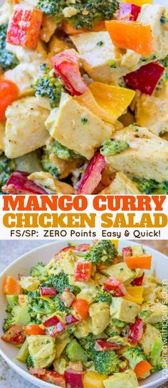 Mango Curry Chicken Salad made with a curried greek yogurt dressing is a ZERO point salad you'll want for lunch every day and its fuss free since it's served cold.