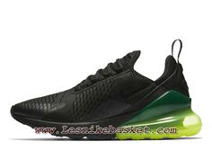 uk availability b2786 4cf6a Running Nike Air Max 270 Black Neon Green AH8050 011 Chaussures Nike Pas  Cher Pour Homme Noires
