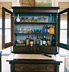 Beverage Centers Beyond Built Ins and Bar Carts - Shine DIY & Design Home Bar Essentials, Home Bar Areas, Do It Yourself Inspiration, Bar Plans, Beverage Center, Wood Cabinets, Cupboards, Bars For Home, Painted Furniture