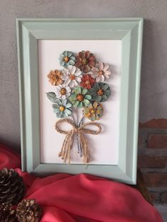 Handmade, Pinecone Wall Hanging, Framed Pinecone Flowers This fancy design includes pinecone flowers which are hand cut, carefully shaped and painted to resemble an authentic. Pine Cone Art, Pine Cone Crafts, Pine Cones, Nature Crafts, Home Crafts, Diy And Crafts, Crafts For The Home, Decor Crafts, Creative Crafts