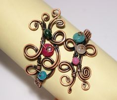 copper bangle jewelry- copper wire wrapped Bracelet-cuff bracelet-wire wrapped jewelry handmade-copper jewelry-copper wire jewelry. $39.00, via Etsy.
