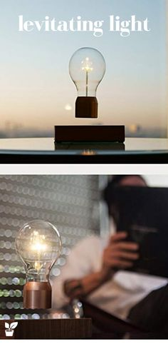 levitating light that hovers by magnetic levitation and is powered through the air via induction. We use energy-efficient LEDs rated at about 50,000 hours. That's 12 hours a day for 11 years! Includes Ash Base and Light Bulb with Chrome Cap and AC Adapter. No batteries required. Lifetime: 50 000 Hours. Efficiency: 16Lm/W. Max Brightness: 60 Lumens.Indoor Use Only. #levitatinglight #LevitatingBulb #uniquegifts Floating led Floating light Floating Levitating LED Light levitating light unique gifts Floating Plants, Floating Lights, Magnetic Levitation, Energy Efficiency, Potted Plants, Desk Lamp, Light Bulb, Magnets, Unique Gifts