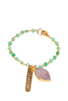 Perry ♥ Beautiful rough cut semi precious stones on a gold filled 7 inch chain. Hand hammered gold plated charm with a druzy charm. #AshlarRocks