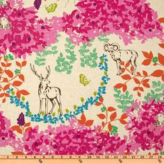 """Echino Fall 2010 Cotton/Linen Blend Canvas Woodland Pink"" designed by Etsuko Furuya for Kokka fabrics; on fabric.com"