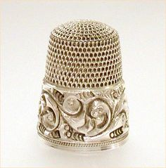 Antique Sterling Simons Bros. Thimble Deeply Carved Band