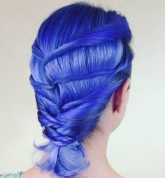 Pastel Blue Twisted Hairstyle