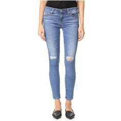 AG The Legging Ankle Jeans ($230) ❤ liked on Polyvore featuring jeans, stretch denim skinny jeans, skinny ankle jeans, zipper jeans, ankle zipper jeans and stretch blue jeans
