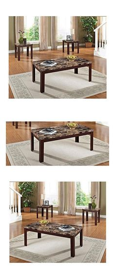 furniture: Elegant Cherry 3 Piece Coffee And End Table Set Living Room Furniture New -> BUY IT NOW ONLY: $117.99 on eBay!