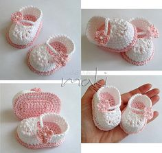 Name: 'Crocheting : FREE crochet pattern Mini bootiesRavelry: Mini booties pattern by Maja MasarFinished size of the bootie is about 7 cm in) length, 5 cm in) width and in) height.Scarpina ballerina décolleté cMake these adorable crochet baby booties! Crochet Baby Sandals, Booties Crochet, Crochet Baby Clothes, Crochet Slippers, Baby Booties, Diy Crafts Crochet, Crochet Projects, Crochet Shoes Pattern, Crochet Patterns