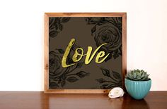 Love and Roses Faux Gold Foil Art Print by StayGoldMedia on Etsy