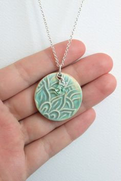 Porcelain Ceramic Pendant Necklace Round with by HeatherEvesMercer |Pinned from PinTo for iPad|