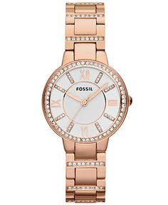 Fossil Watch, Women's Virginia Rose Gold-Tone Stainless Steel Bracelet 30mm ES3284 - Watches - Jewelry & Watches - Macy's