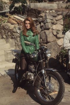 "sallystomato: "" mdc-archive: ann margret "" Ann Margret on a motorcycle. Also known as ""sex on a stick."""