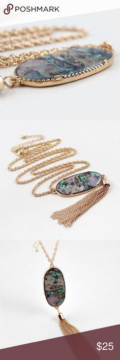 Abalone Pendant Necklace zinc alloy, lead/nickel/allergen free faux abalone, link chain Jewelry Necklaces