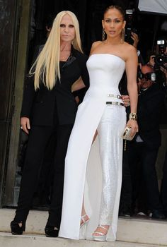 jennifer lopez, white Versace gown, paris fashion show,  Donatella Versace, singer, france