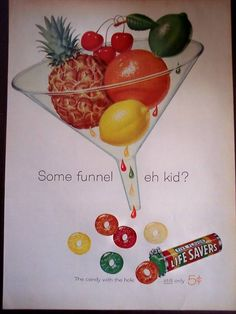 1960 LIFE SAVERS fruit flavored hard candy vintage ad