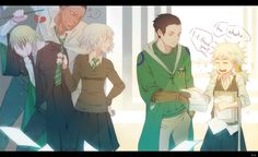 (Hunter x Hunter and Harry Potter crossover) by zweihander-k on DeviantArt - Youpi, Pouf, Pitou, and Meruem OBVIOUSLY in Slytherin. And then there's Hufflepuff Komugi Hisoka, Killua, Hunter X Hunter Komugi, Slytherin, Hogwarts, Crossover, Manga Pictures, Yandere, Anime Couples