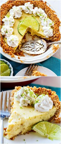 Lime Pie with Coconut Macadamia Crust - Spicy Southern Kitchen Summer Desserts, Just Desserts, Delicious Desserts, Yummy Food, Summer Recipes, Holiday Recipes, Pie Recipes, Dessert Recipes, Cooking Recipes