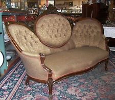 Antique 1880s Victorian Renaissance Revival Carved Cameo Back Tufted Sofa