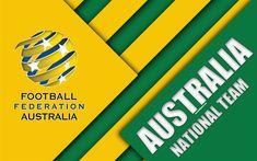 Download wallpapers Australia football national team, 4k, emblem, Asia, material design, yellow green abstraction, Football Federation Australia, FFA, logo, Australia, football, coat of arms