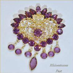 Juliana Rhinestone Heart Brooch Purple Dangles Vintage Jewelry