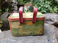 Antique Childs Tin Lunch Pail Children Playing Lunch Box with handles
