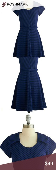 Myrtlewood Modcloth Dress EUC-no flaws. Wore twice maybe. Marine Blue and Black Flare Dress with Belt. Short sleeve, Great Classy look! True to Size. Provides some stretch, material is thick but light enough for summer. Reaches me at knees, I'm 5'4. Modcloth Dresses Midi