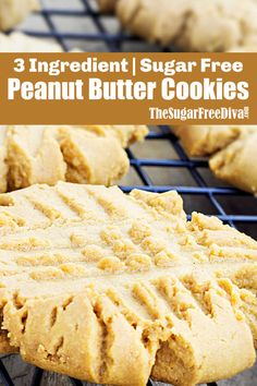 The Recipe for Easy 3 Ingredient Sugar Free Peanut Butter Cookies YUMMY 3 Ingredient Sugar Free Peanut Butter Cookies Keto Cookies, Sugar Free Peanut Butter Cookies, Butter Cookies Recipe, Sugar Free Desserts, Sugar Free Recipes, Healthy Cookies, Flourless Sugar Cookie Recipe, Diabetic Peanut Butter Cookie Recipe, Easy Peanut Butter Desserts