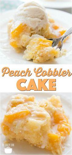 Easy Peach Cobbler Cake recipe from The Country Cook #peach #peachcobbler #cake #recipes #dessert #ideas #cakemix #peachpiefilling