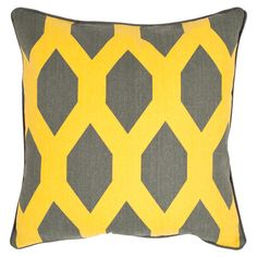 Showcasing bold geometric designs in a yellow and grey palette, this pillow pair infuses your decor with graphic flair.  Product: Set...