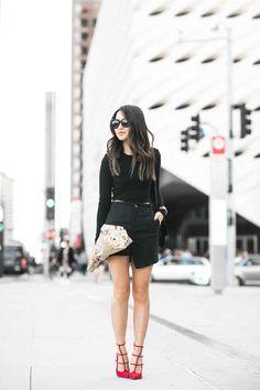 All Black :: Cropped top & Asymmetric skirt :: Outfit ::  Top :: Ronny Kobo  Bottom :: Marissa Webb Shoes :: Christian Louboutin Bag :: Celine Accessories :: Karen Walker sunglasses, similar gold cuff, Deborah Lippmann 'Fade to black' polish Published: March 11, 2016