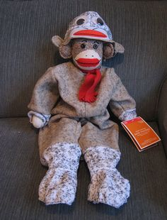 sock monkey wearing a sock monkey outfit! So cute!!!!